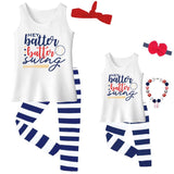 Hey Batter Swing Outfit Navy Stripe Tank Top And Capri Mommy Me