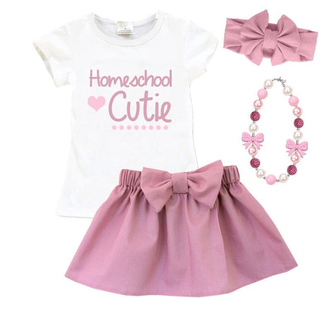 Homeschool Cutie Outfit Mauve Pink Top And Skirt