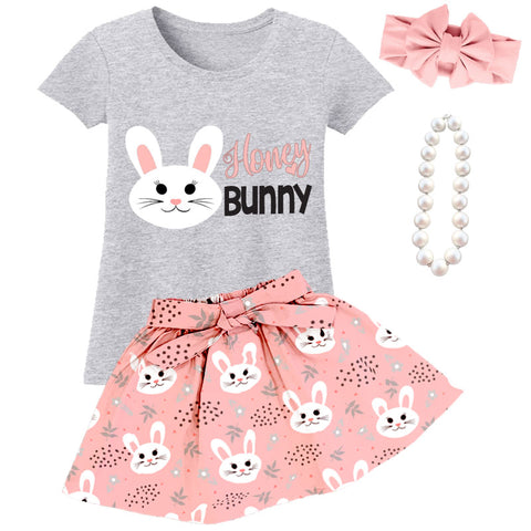 Honey Bunny Outfit Peach Pink Gray Top And Skirt
