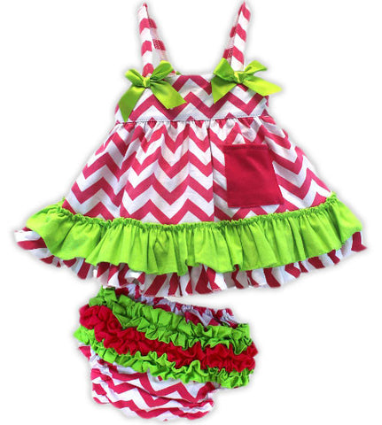Hot Pink Chevron Green Two Piece