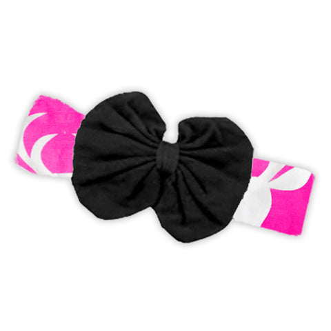 Bubblegum Pink Deer Black Messy Bow Headband