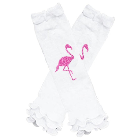 Hot Pink Flamingo Leg Warmers White