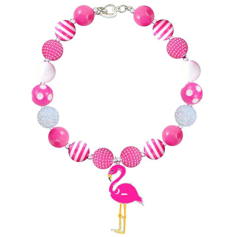 Hot Pink Flamingo Necklace Chunky Gumball