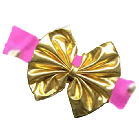 Hot Pink Gold Polka Messy Bow Headband