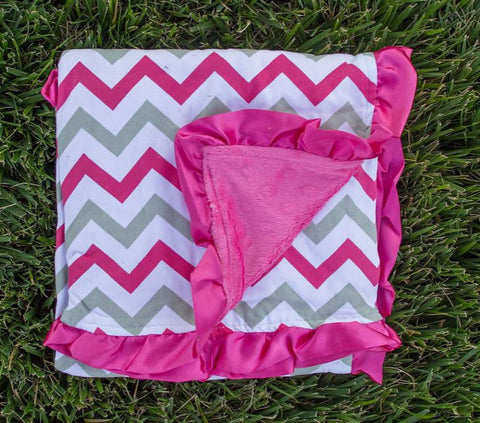 Hot Pink-Gray Chevron Hot Pink Minky Blanket