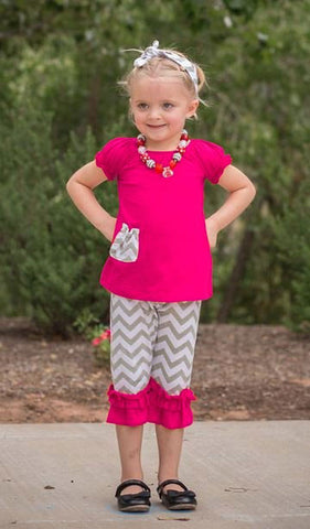 Hot Pink Gray Chevron Pocket Capri Set
