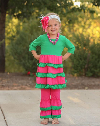 Hot Pink Green Ruffle Pant Set