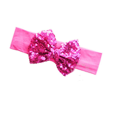 Hot Pink Headband Sequin Bow
