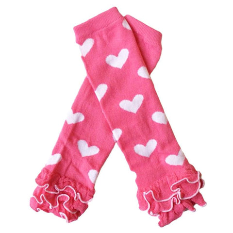 Hot Pink Heart Leg Warmers Ruffle