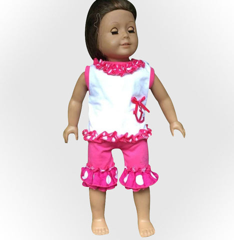 Hot Pink Polka Anchor Baby Doll Capri Set