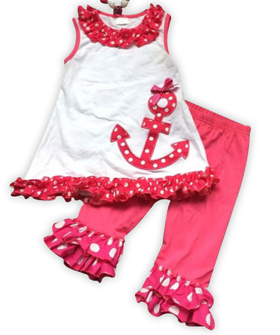 Hot Pink Polka Anchor Capri Set