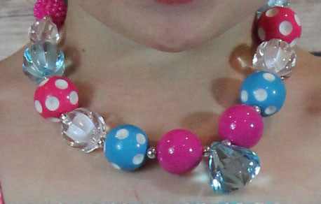 Hot Pink Teal Diamond Necklace