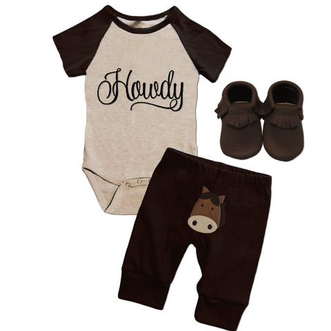 Howdy Raglan Horse Onesie And Pants
