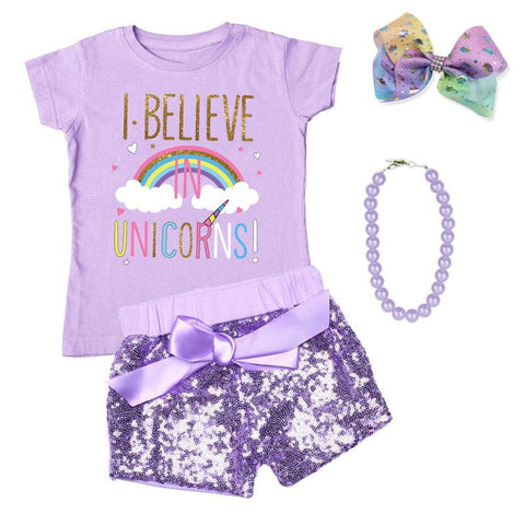 I Believe In Unicorns Outfit Rainbow Purple Sequin Top And Shorts