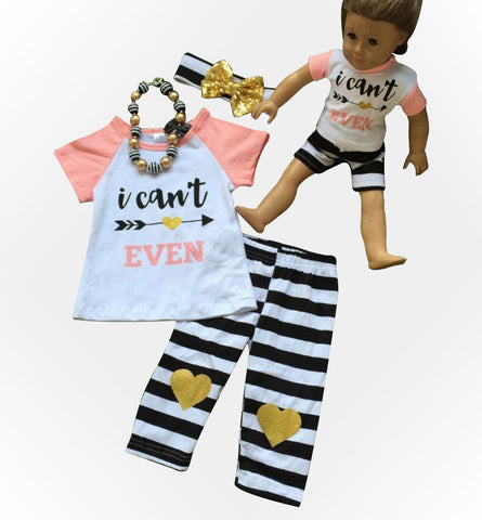 I Cant Even Black Stripe Capri Set