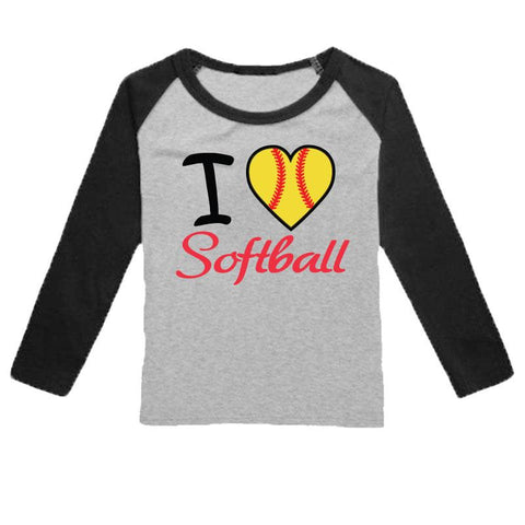 I Heart Softball Shirt Gray Black