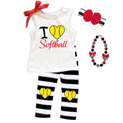 I Love Softball Outfit Black Stripe Top And Capri