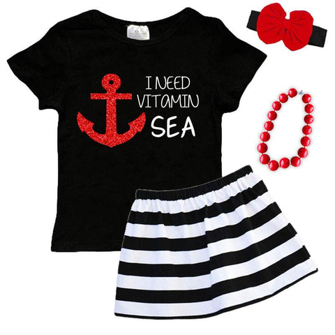 I Need Vitamin Sea Outfit Anchor Black Red Sparkle Top And Skirt