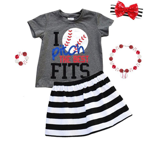 I Pitch The Best Fits Baseball Outfit Black Stripe Top And Skirt
