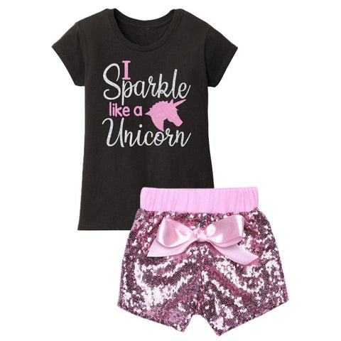 I Sparkle Like A Unicorn Outfit Pink Sequin Top And Skirt