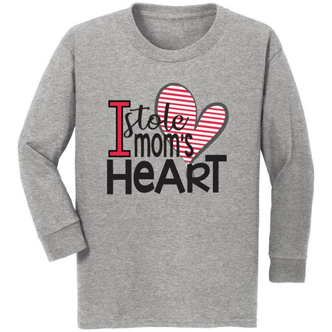 I Stole Moms Heart Shirt Heather Gray