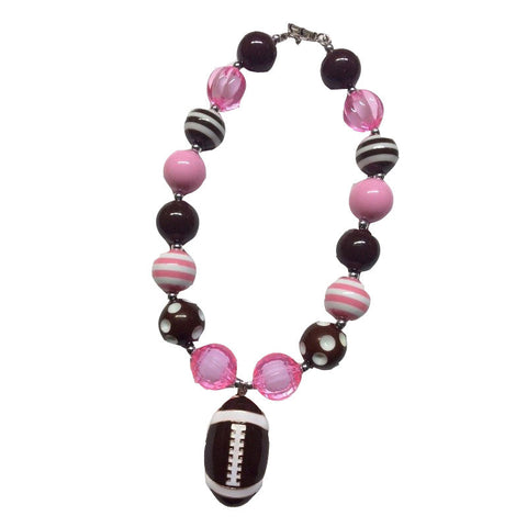 Pink brown Polka football necklace