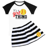 Its A Girl Thing Softball Outfit Black Stripe Top And Skirt