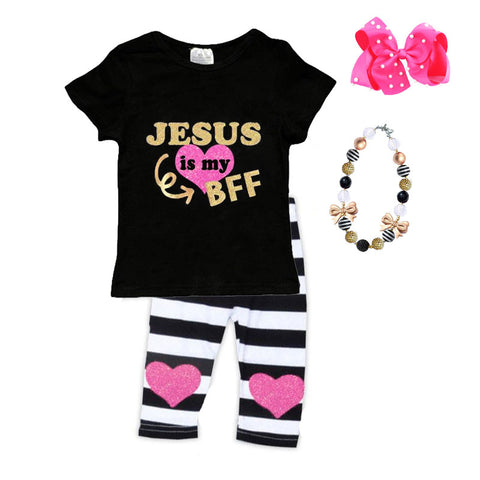 Jesus Is My Bff Outfit Black Stripe Top And Capri