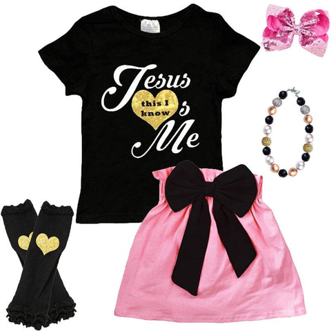 Jesus Loves Me This I Know Outfit Black Pink Top And Skirt