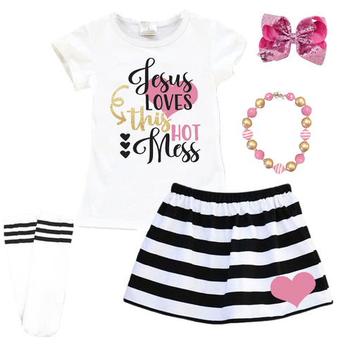 Jesus Loves This Hot Mess Outfit Black Stripe Top And Skirt