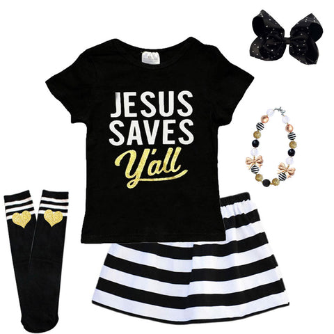 Jesus Saves Yall Outfit Black Stripe Top And Skirt