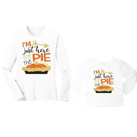 Just Here For The Pie Shirt Gold Orange Mommy Me
