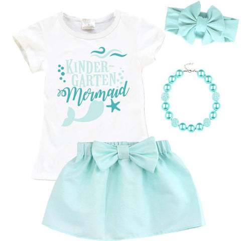 Kindergarten Mermaid Outfit Mint Top And Skirt