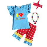 Kindergarten Outfit Pencil Heart Blue Red Polka Dot Top And Capri