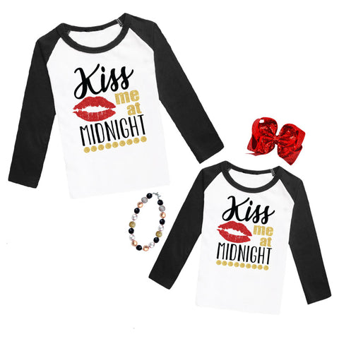 Kiss Me At Midnight Shirt Gold Sparkle Black Raglan Mommy Me