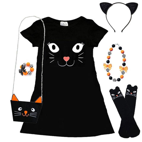 Kitty Cat Black Pocket Dress