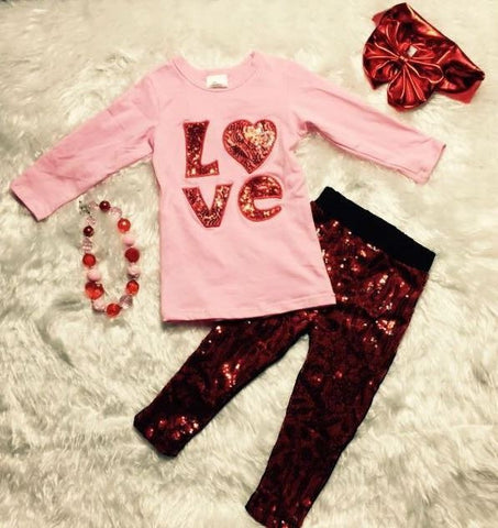 LOVE Sequin Red Pant Set
