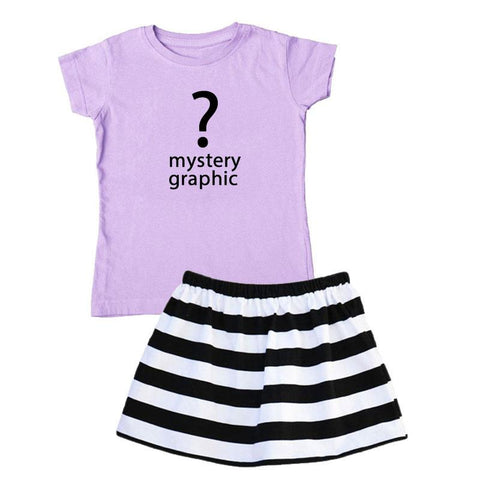 Lavender Black Outfit Stripe Top And Skirt Mystery