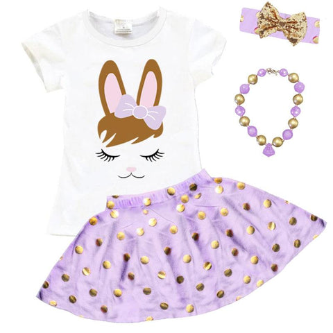 Lavender Bunny Face Outfit Gold Polka Dot Top And Skirt