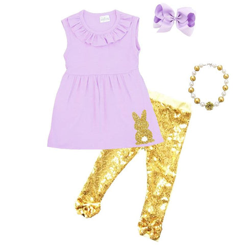 Lavender Bunny Gold Outfit Sequin Ruffle Top And Pants