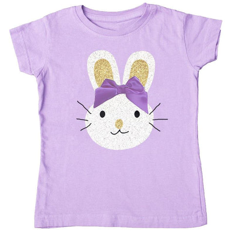 Lavender Bunny Shirt Gold Purple Bow