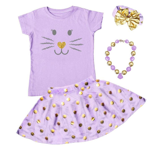 Lavender Bunny Whiskers Outfit Gold Polka Dot Top And Skirt