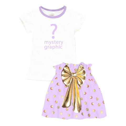 Lavender Gold Bow Outfit Polka Dot Top And Skirt Mystery