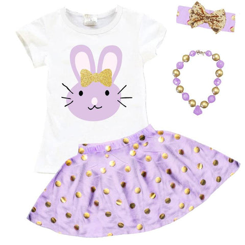 Lavender Gold Bunny Outfit Gold Polka Dot Top And Skirt