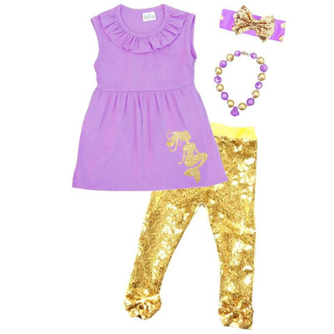 Lavender Gold Mermaid Outfit Sparkle Sequin Top And Pants