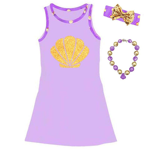 Lavender Gold Mermaid Tank Dress Purple Shell Polka Dot