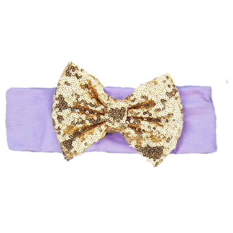 Lavender Gold Sequin Bow Headband Purple
