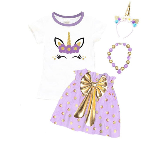Lavender Gold Unicorn Outfit Polka Dot Top And Skirt