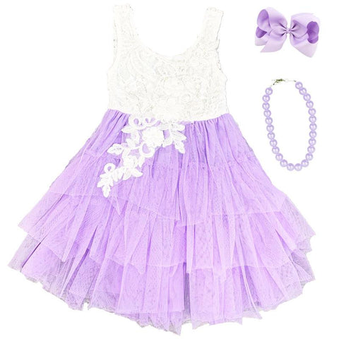 Lavender Purple Lace Dress Tutu Tulle