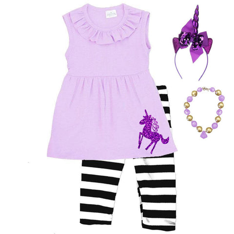 Lavender Purple Unicorn Outfit Black Stripe Top And Capri